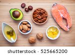 selection food sources of omega ... | Shutterstock . vector #525665200