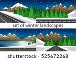set of winter landscapes.... | Shutterstock .eps vector #525672268
