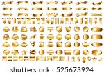 ribbon banner label gold vector ... | Shutterstock .eps vector #525673924