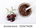 Small photo of Tapenade - olive paste made from kalamata olives. Top view.