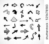 hand drawn arrows  vector set | Shutterstock .eps vector #525678583