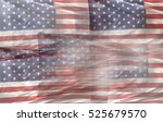 multiple american flags... | Shutterstock . vector #525679570