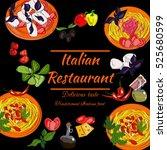 italian restaurant top view... | Shutterstock .eps vector #525680599