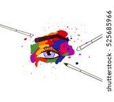 vector multicolor watercolor... | Shutterstock .eps vector #525685966