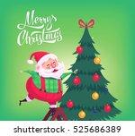 cute cartoon santa claus... | Shutterstock .eps vector #525686389