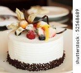 White Cream Icing Cake With...