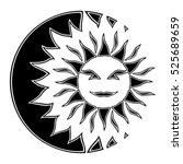 smiling sun partial eclipse 2   Shutterstock .eps vector #525689659