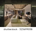luminous sitting room in a loft ... | Shutterstock . vector #525699058
