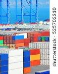 port cargo crane and container...   Shutterstock . vector #525702310