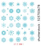 snowflake winter set. vector | Shutterstock .eps vector #525703678