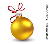 Christmas ornament with red ribbon. Vector Illustration. | Shutterstock vector #525703900