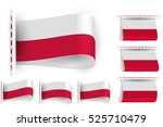 Flag of Poland is embroidered on the textile tag and sewn with a thread stitch; Set of vector realistic icons of flag of Republic of Poland from a fabric loop