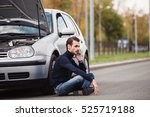 a young man sits on the side of ... | Shutterstock . vector #525719188