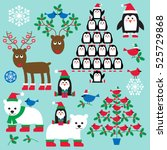 christmas animals and trees... | Shutterstock .eps vector #525729868