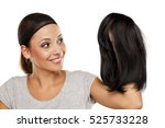 young woman with a wig cap on...   Shutterstock . vector #525733228