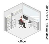 3d isometric interior design... | Shutterstock .eps vector #525735184