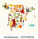 spain map vector  contour.... | Shutterstock .eps vector #525740926