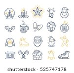 christmas holiday thin line... | Shutterstock .eps vector #525747178