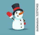 happy snowman in black hat and... | Shutterstock .eps vector #525747403