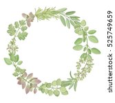 hand drawn vector wreath with... | Shutterstock .eps vector #525749659