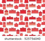 present seamless pattern in red | Shutterstock .eps vector #525756040