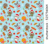 seamless christmas pattern with ... | Shutterstock .eps vector #525756064