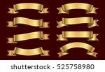 set of golden ribbons on dark... | Shutterstock .eps vector #525758980