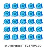 cute cartoon blue round buttons ...