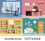 Office rooms set. Detailed graphic room interiors with furniture: office tables, chairs, laptops and office supplies. Modern workplaces. Flat style vector illustration.  | Shutterstock vector #525764068