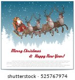 christmas background with santa ... | Shutterstock .eps vector #525767974