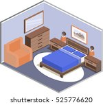 interior in isometric style.... | Shutterstock .eps vector #525776620
