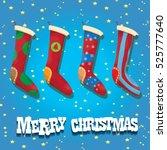 vector cartoon cute christmas... | Shutterstock .eps vector #525777640
