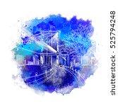 brooklyn bridge hand drawn... | Shutterstock .eps vector #525794248