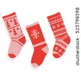 red christmas knitted stocking... | Shutterstock .eps vector #525798598
