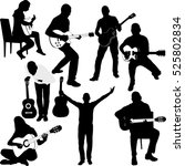 set of guitar player... | Shutterstock .eps vector #525802834