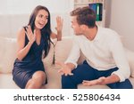 two young lovers quarreling... | Shutterstock . vector #525806434