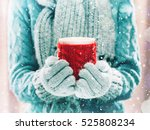 woman holding winter cup close... | Shutterstock . vector #525808234