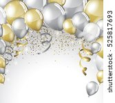 silver and gold balloons and... | Shutterstock .eps vector #525817693