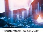 double exposure businessman and ... | Shutterstock . vector #525817939