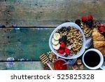 delicious and diet breakfast... | Shutterstock . vector #525825328