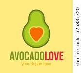 love heart avocado vector logo... | Shutterstock .eps vector #525835720