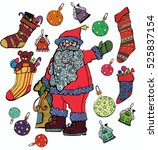 jolly santa claus surrounded by ... | Shutterstock .eps vector #525837154