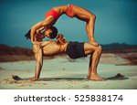 young sports couple doing...   Shutterstock . vector #525838174