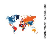 world map with colorful... | Shutterstock .eps vector #525838780