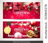 vector set of two christmas... | Shutterstock .eps vector #525845278