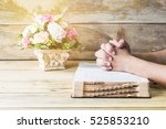 praying hands of the man on... | Shutterstock . vector #525853210
