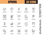 spring flat icon set.... | Shutterstock .eps vector #525857308