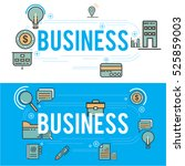 business icons line theme set ... | Shutterstock .eps vector #525859003