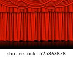 red curtains and wooden stage... | Shutterstock . vector #525863878
