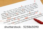 Stock photo english proofreading sheet with red marks 525865090